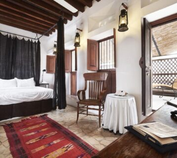 A bedroom packed with rustic Arabian charm