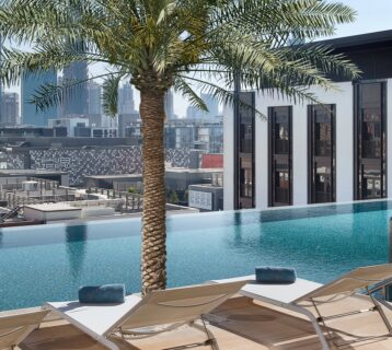 Superb views of Dubai from the rooftop pool at La Ville City Walk