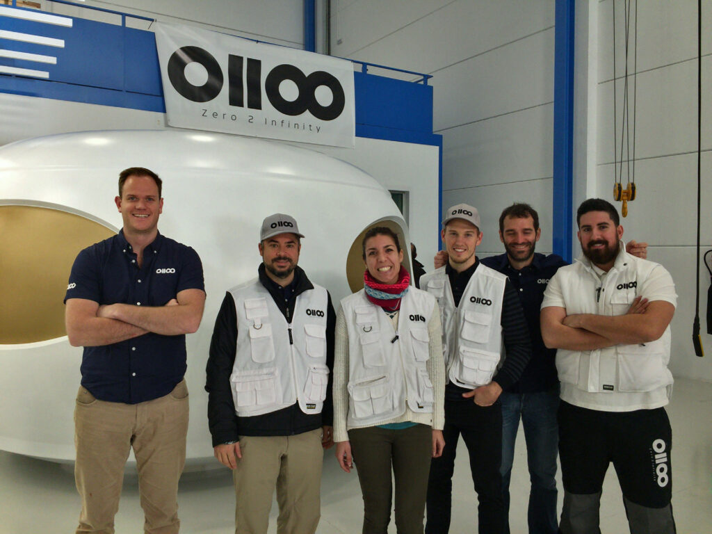 Founder Jose Lopez Urdiales (second-left) and the Zero 2 Infinity team in front of a prototype